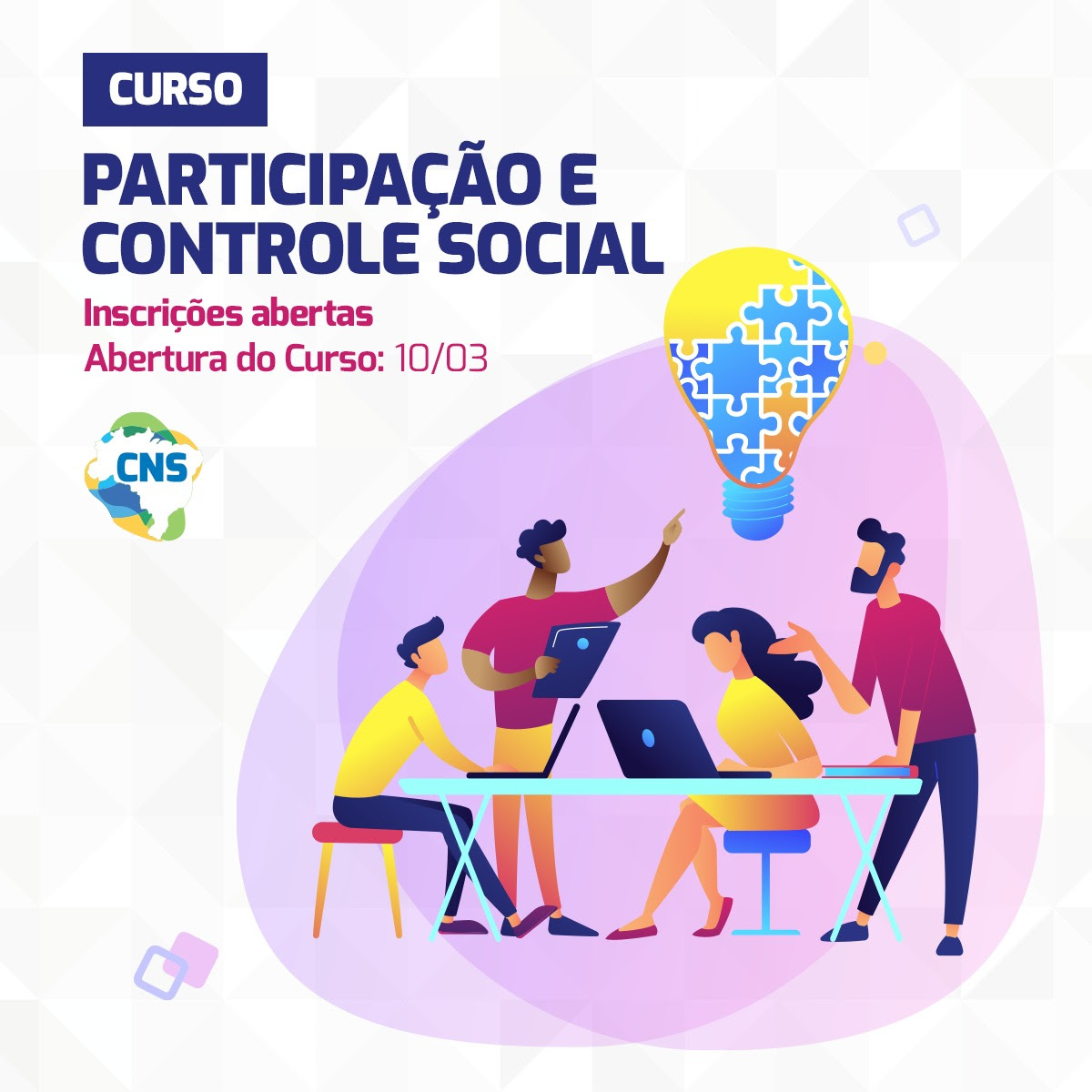 Pré-inscrições abertas para o Curso de participação e Controle Social do Conselho Nacional de Saúde